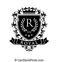Royal. Heraldic emblem shield with crown and laurel wreath. Coat Arms Vintage Brand Crest Heraldic Emblem Shield. Vector illustration