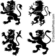 Royal heraldic lions - Royal lions silhouettes set for...