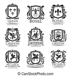 Royal heraldry emblems, heraldic animals icons