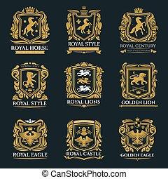 Royal heraldry emblems, heraldic lion and horse
