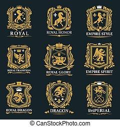 Royal heraldry, heraldic lion and horse animals