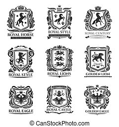 Royal heraldry, medieval horse and animals icons