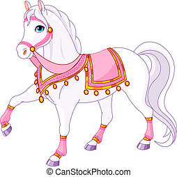 Royal Horse - Vector Illustration of skipping beautiful...
