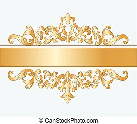 Royal imperial classic ornament damask invitation in gold. Vector
