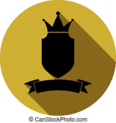 Royal insignia, security shield with a king crown isolated on white. Heraldry, imperial coat of arms.