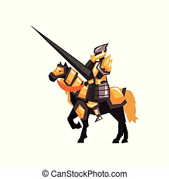 Royal knight on horseback. Armored horse rider with lance. Flat vector design for story book or mobile game