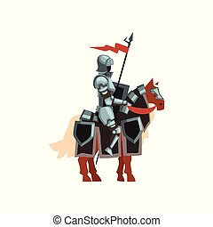 Royal knight sitting on horse with red flag and shield in hand. Brave warrior in steel shiny armor. Flat vector design for story book or mobile game