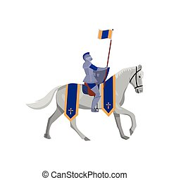 Royal knight with flag in steel armor and white horse