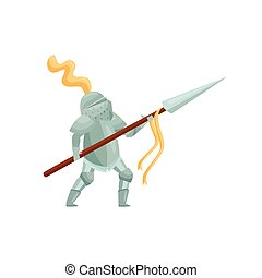 Royal knight with spear in hands in fighting pose. Brave warrior in iron armor. Medieval hero. Flat vector design