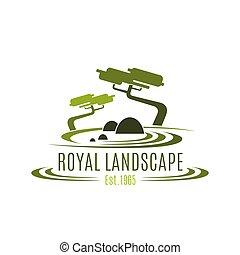 Royal landscape design company vector icon