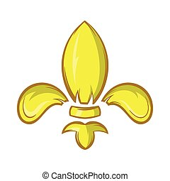 Royal lily icon, cartoon style