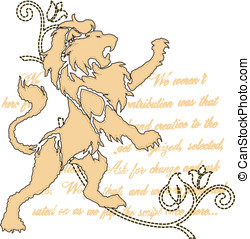 royal, lion, emblème, rouleau, orné