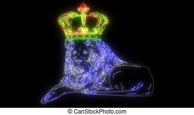 Royal lion with crown - animal king head with long mane ...