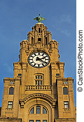 Royal Liver Building in Liverpool UK, one of the world's most famous waterfront skylines