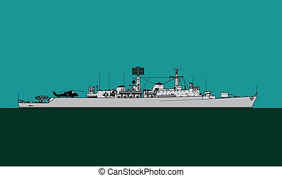 Royal Navy. County-class guided missile destroyer. Navy ...