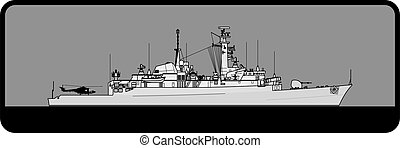 Royal Navy. Type 21 Amazon-class frigate. Side view. Vector ...