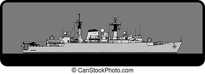Royal Navy. Type 22 Batch I Broadsword-class frigate. - ...