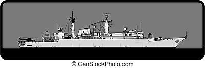 Royal Navy. Type 22 Batch II Broadsword-class frigate. - ...