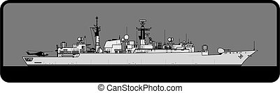 Royal Navy. Type 22 Batch III Broadsword-class frigate. - ...