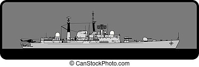 Royal Navy Type 42 Batch III guided missile destroyer. - ...