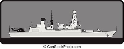 Royal Navy. Type 45 Daring class guided missile destroyer...