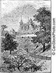 Royal Observatory in Greenwich, London, England, UK, vintage engraved illustration