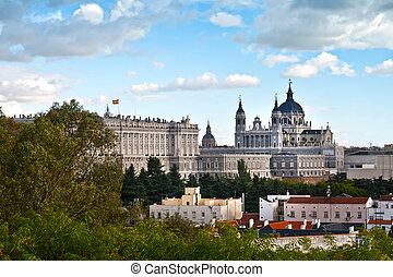 Royal Palace and Almudena Cathedral, Madrid, Spain