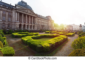 Royal Palace and garden in Brussels, Belgium