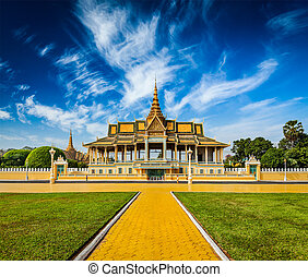 Royal Palace complex in Phnom Penh - Royal Palace complex,...