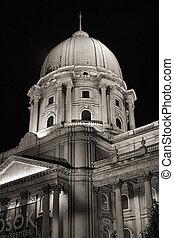royal palace cupola at night, budapest