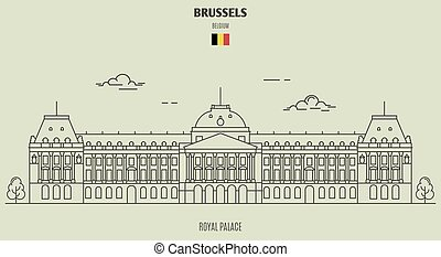 Royal Palace in Brussels, Belgium. Landmark icon