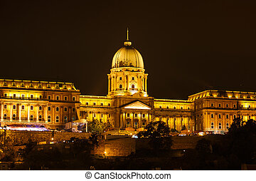 Royal Palace or Buda Castle at night. Budapest, Hungary