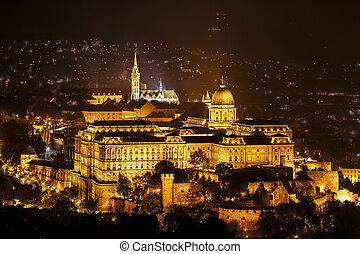 Royal Palace or Buda Castle at night. Budapest, Hungary