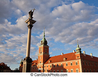 Royal Palace and statue of Zygmunt in old town square in Warsaw Poland