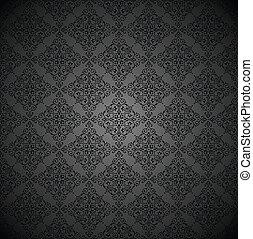 royal, papier peint, noir, décoratif
