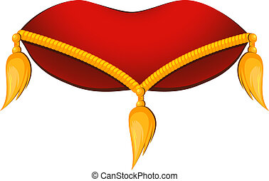 Royal pillow - Red pillow with gold tassels on a white...