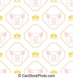Royal pork seamless pattern. Pig and crown regal background. Farm animal texture