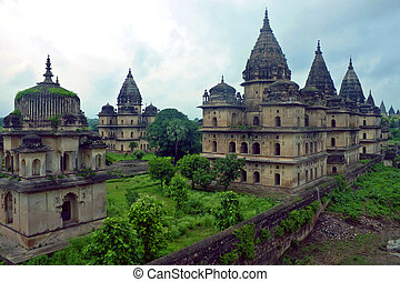 royal, règles, madhya, india., pradesh, orchha., cenotaphs