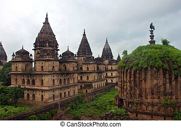 royal, règles, madhya, india., pradesh, orchha., cenotaphs