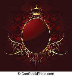 Royal red background with golden frame. Vector