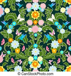 royal rococo floral pattern with butterflies and flowers. seamle