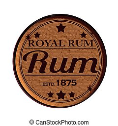Label stamp with text Royal rum on vector illustration