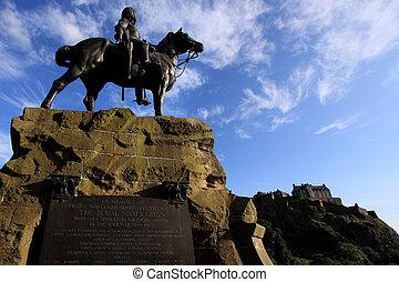 Royal Scots Greys Monument and Edinburgh Castle