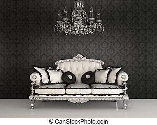Royal sofa with pillows and chandelier in luxurious interior...