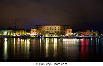 royal, stockholm, palais, nuit