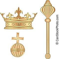 royal symbols - crown; scepter; orb