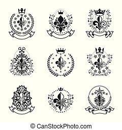 Royal symbols Lily Flowers emblems set. Heraldic vector design elements collection. Retro style label, heraldry logo.