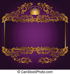 great frame of gold ornaments and a crown on a purple background