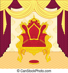 Royal Throne - vector illustration of colorful royal throne