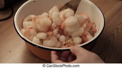 royal tiger shrimps in a bowl.